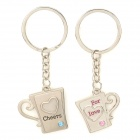 Cute Beer Mug Style Couple Lovers Keychains - Silver