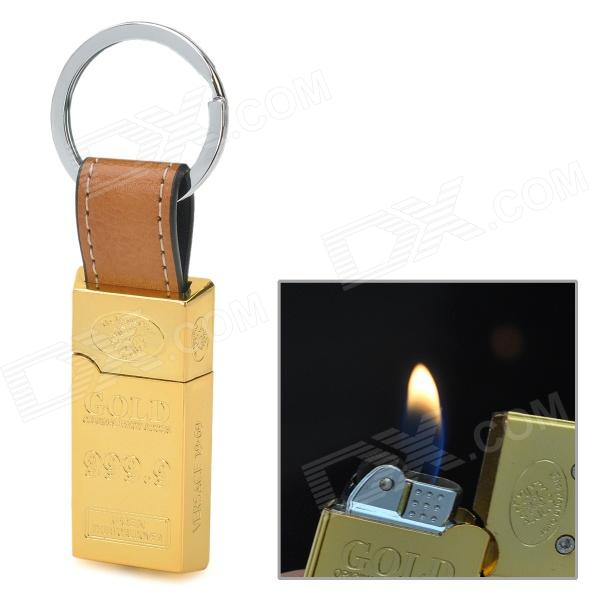 609 Gold Bar Style Butane Lighter w/ Keychain - Golden chili pepper style zinc alloy butane gas lighter green