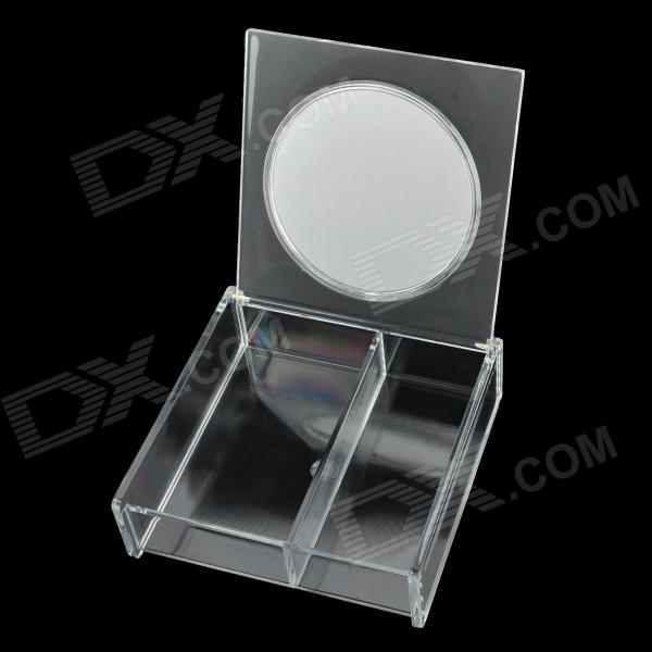 Desktop Plastic Combination Jewelry / Cosmetic Organizer / Storage Box w/ Mirror - Transparent free shipping wooden tool box desk storage drawer debris cosmetic storage box bin jewelry case office creative gift home