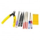 20884 10-in-1 Repair Tool Tweezers Screwdriver Set Box for Toy - Yellow + Black + Silver + Red