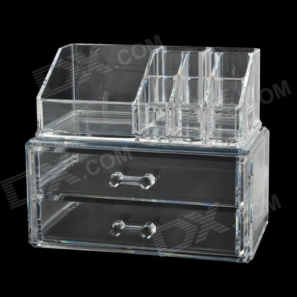Drawer Type Desktop Plastic Combination Jewelry / Cosmetic Organizer / Storage Box - Transparent free shipping wooden tool box desk storage drawer debris cosmetic storage box bin jewelry case office creative gift home