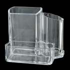 Desktop Plastic Combination Pen Holder / Card Case Organizer / Storage Box - Transparent