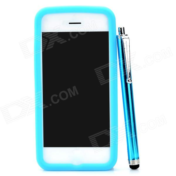 Protective Silicone Back Case w/ Stylus Pen & 5H Screen Protector for Iphone 5 - Blue remax protective silicone back case w screen protector film for nokia lumia 820 translucent white