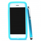 Protective Silicone Back Case w/ Stylus Pen & 5H Screen Protector for Iphone 5 - Blue