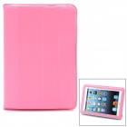 Protective PU Leather Case w/ Smart Cover for iPad Mini - Pink