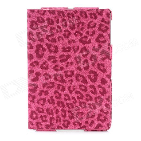 Ultra-Thin Leopard Style Protective PU Leather Case for Ipad MINI - Deep Pink protective pu leather magnetic buckle case for ipad mini deep pink