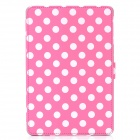 Polka Dot Style Protective PU Leather Case for iPad Mini - Deep Pink + White