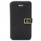 Stylish Protective PU Leather Case w/ Magnetic Closure for Iphone 4 / 4S - Black