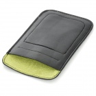 Protective Lambskin Slide-in Pouch Case w/ Card Slot for Iphone 5 - Black + Green