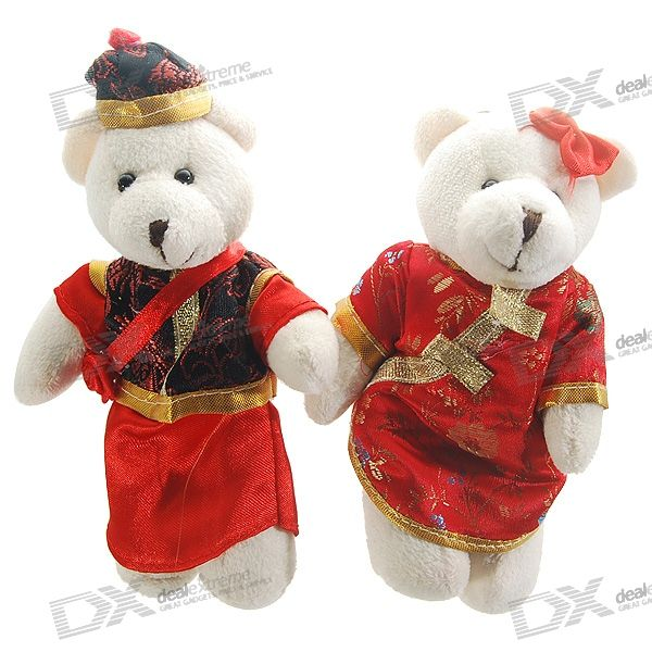 Valentine's Day Gift - Cute Chinese Cheongsam Couple Doll Bear Keychains
