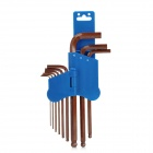 Pro'sKit 8PK-028 Professional 9-in-1 Ball-Point Hex Key Set - Blue + Brown