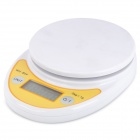 "WH-B04 1.7"" LED Electronic Digital Kitchen Scale - White + Yellow (5kg / 1g / 2 x AAA)"
