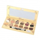 Portable Cosmetic Makeup 12-Color Nude Eyeshadow Palette w/ Mirror - Multicolored (11.08g)