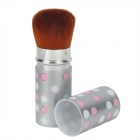 Retractable Fiber Cosmetic Makeup Brush - Silver + Brown