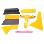 7-in-1 Professional Car Film Scraper Tools Set - Yellow