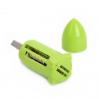 4-in-1 Bullet Shaped USB 2.0 TF / M2 / SD / MS Card Reader - Green