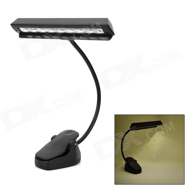 Adjustable 2-Mode 9-LED White Light Clip-on Flexible Neck Music Lamp - Black (3 x AAA / DC 5V)