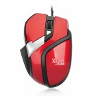 X5 USB Wired 800/1200/1600 DPI Gaming Optical Mouse - Red + Silver + Black (140cm-Cable)