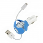 Ipega PG-i5021 Car Charger w/ Winding Cable Function for iPhone 5 / iPad / iPod - Blue