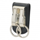 Genuine Honest Waist Hang Stainless Steel + Leather Dual Keychain Set - Silver + Black