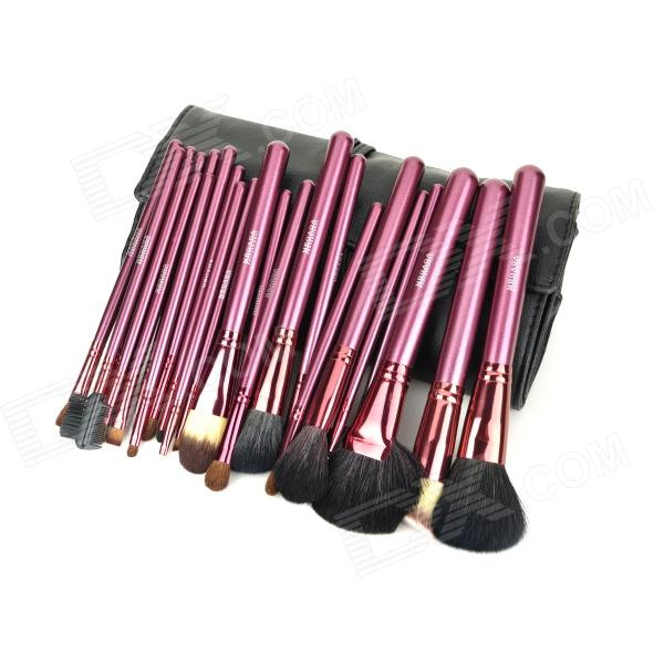 MEGAGA 1005-2 Professional 24-in-1 Wool Cosmetic Makeup Brush w/ Bag - Black + Rose Brown megaga 275 7 in 1 professional cosmetic makeup brushes w carrying bag black