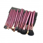 MEGAGA 1005-2 Professional 24-in-1 Wool Cosmetic Makeup Brush w/ Bag - Black + Rose Brown