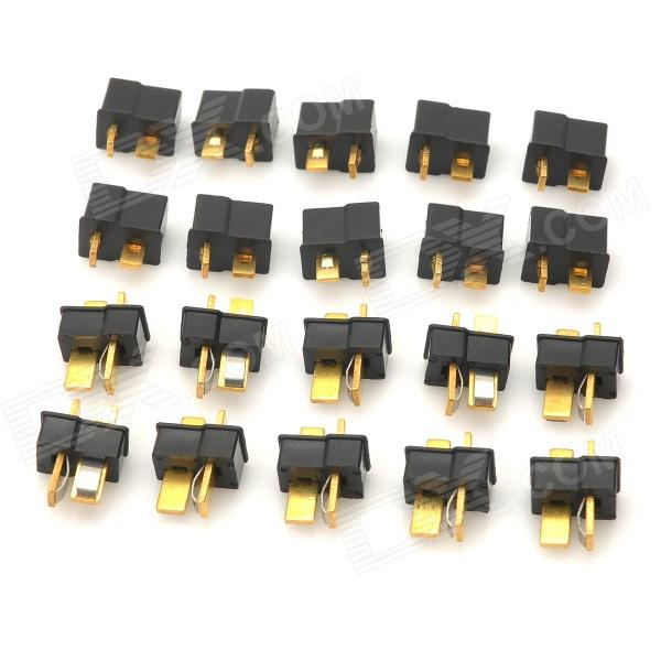 Male T Plug Connectors for R/C Helicopter - Black + Golden (20 PCS)