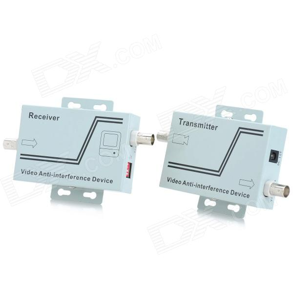 RF602V Dual-Video Multiplexer Anti-Interference UTP Balun Transceiver - Light Blue (Power Type)