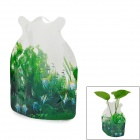 Creative Swimming Fish Pattern Plastic Folding Vase - Green + Transparent (Small)