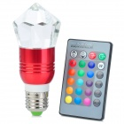 E27 3W 270lm 8-LED RGB Colorful Light Crystal Lamp w / Remote Control - Red + Silver (AC 85 ~ 265V)