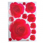 Romantic Rose Pattern Reusable Removable Decorative Wall Sticker - Red (50 x 70cm)