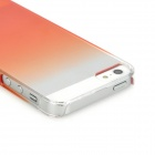 Protective Gradient Color Plastic Case for Iphone 5 - Transparent + Orange