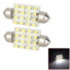 Festoon 39mm 1.2W 130lm 16-SMD 1206 LED White Light Car Reading Lamp / License Light (12V / 2 PCS)