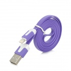 Blitz 8-Pin-Stecker auf USB Male Flach-Ladekabel für iPhone 5 - Purple (1m)