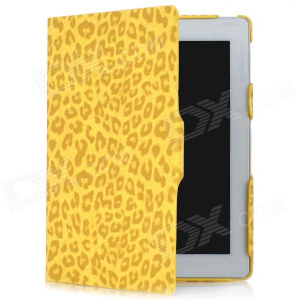 Leopard Pattern Protective PU Leather 3-Fold Case for Ipad 2 / 3 / 4 - Yellow pannovo waterproof pu leather extra thick anti shock eva case for gopro hero 4 3 3 2 sj4000