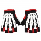 Pro-Biker Non-slip Skeleton Half-Fingers Motorcycle Gloves - White + Red + Black (Pair / Size XL)