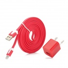 EU Plug Power Adapter + Blitz 8-Pin Stecker auf USB Stecker Ladekabel für iPhone 5 Set - Red