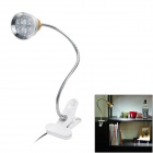 AC Power 4W 380lm 6500K 4-LED White Light Flexible Neck Desk Lamp w/ Clip - Silver + White + Golden
