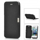 PU Leather Cover Rechargeable 2200mAh External Power Battery Back Case for iPhone 5 - Black