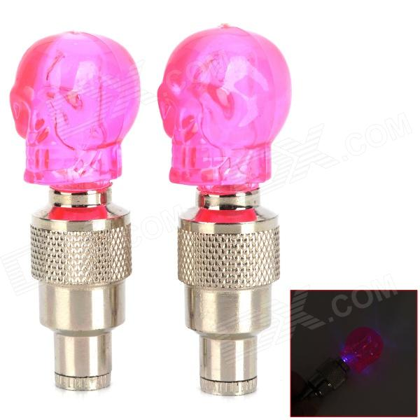 G30 Skull Style Car Tire Valve Induction Vibration Blue Light Lamps - Pink + Silver (3 x AG10) от DX.com INT