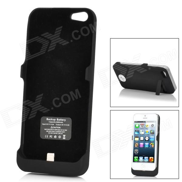 Rechargeable 2000mAh External Power Battery Back Case for iPhone 5 - Black