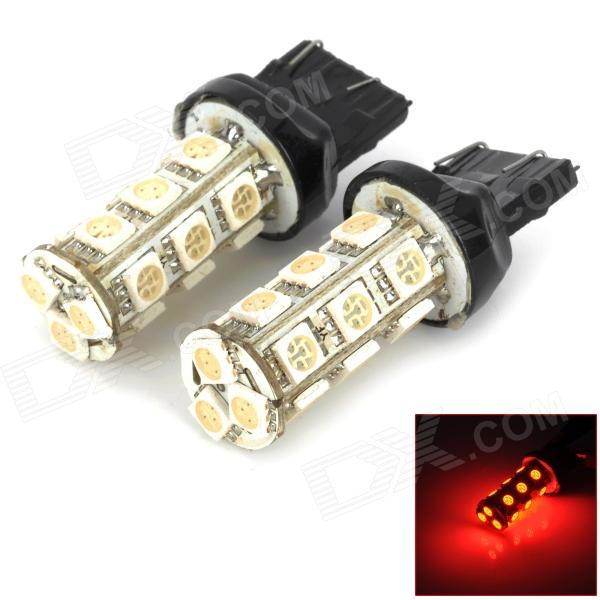 T20 3W 200lm 18-SMD 5050 LED Red Car Steering / Brake / Tail / Headlight / Backup Lamp (Pair)