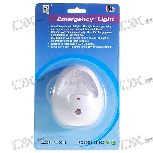 850mAh Rechargeable 5-LED Power Outtage Emergency + Automatic Night Light (220V AC)