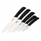 "BECONN BC60456 5-in-1 3"" 4"" 5"" 6"" 7"" Super Sharp Kitchen Ceramic Knives - Black + White"