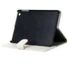 Lichee Pattern Protective PU Leather Case for Ipad MINI - White