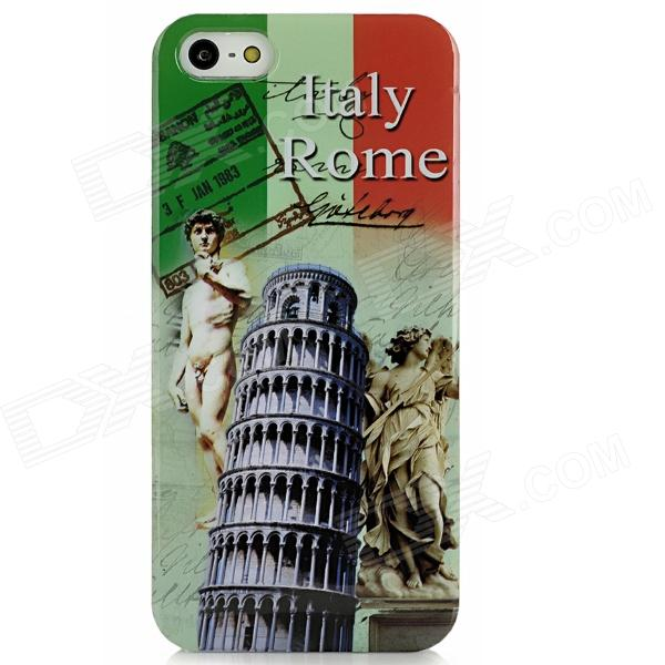 Protective Leaning Tower of Pisa + David Sculpture Pattern Plastic Case for Iphone 5 italian flag style graffiti leaning tower of pisa pattern protective tpu case for htc one m7 green