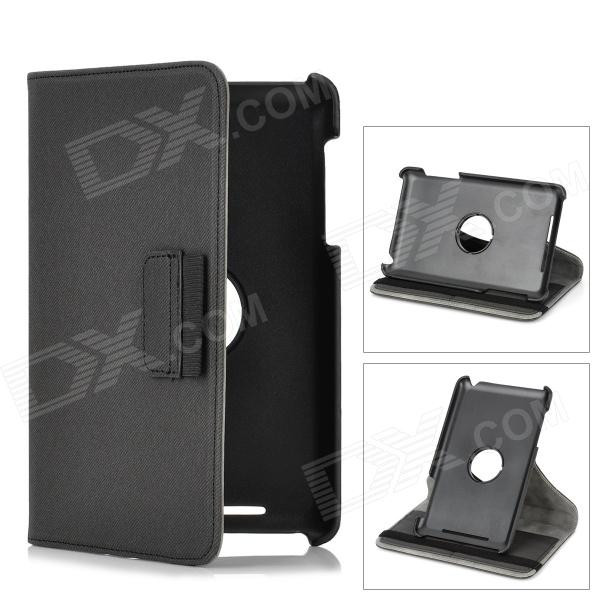 Protective Flip-Open 360 Degree Rotation PU Leather Case w/ Wallet Card Slot for Nexus 7 - Deep Grey levett caesar prostate massager for 360 degree rotation g spot