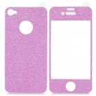 Shinning Shimmering Powder Decoration Front + Back Sticker for Iphone 4 / 4S - Purple Pink