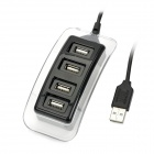 BH-067 4-Port USB 2.0 Hub w/ Blue Indicator - Black + Transparent