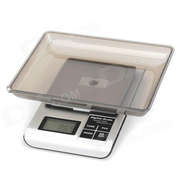 "5 kw 1.8"" LED Digital Desktop šperky Scale - Silver White + Silver + Black (2 x AAA / 3000g / 0,1 g)"